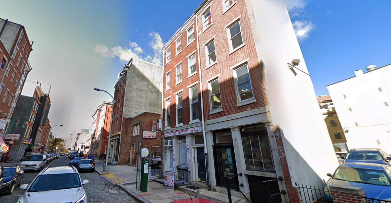 107 Chestnut Street (center). Looking northwest. Credit: Google