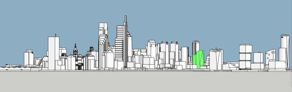 2120 Market Street with the skyline. Model by Thomas Koloski
