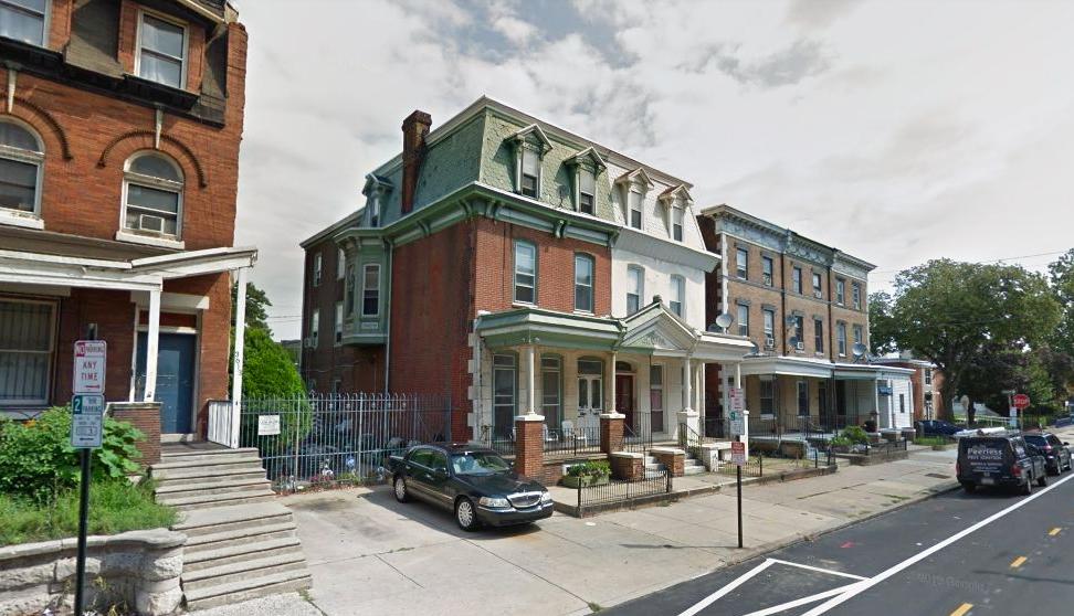 3609 Spring Garden Street in August 2017, prior to demolition at 3607 Spring Garden Street. Looking northeast. Credit: Google