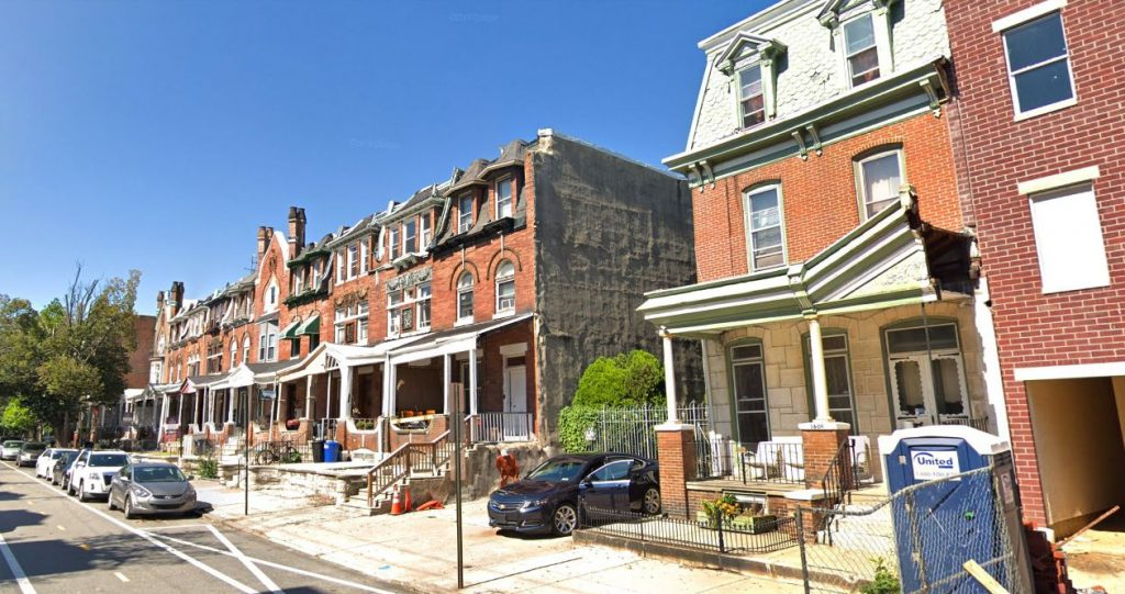 Spring Garden Street with 3609 Spring Garden Street on the left. Looking northwest. Credit: Google