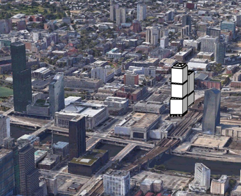 Schuylkill Yards conceptual massing. Looking southwest. Rendering credit: Tom Koloski. Background credit: Google