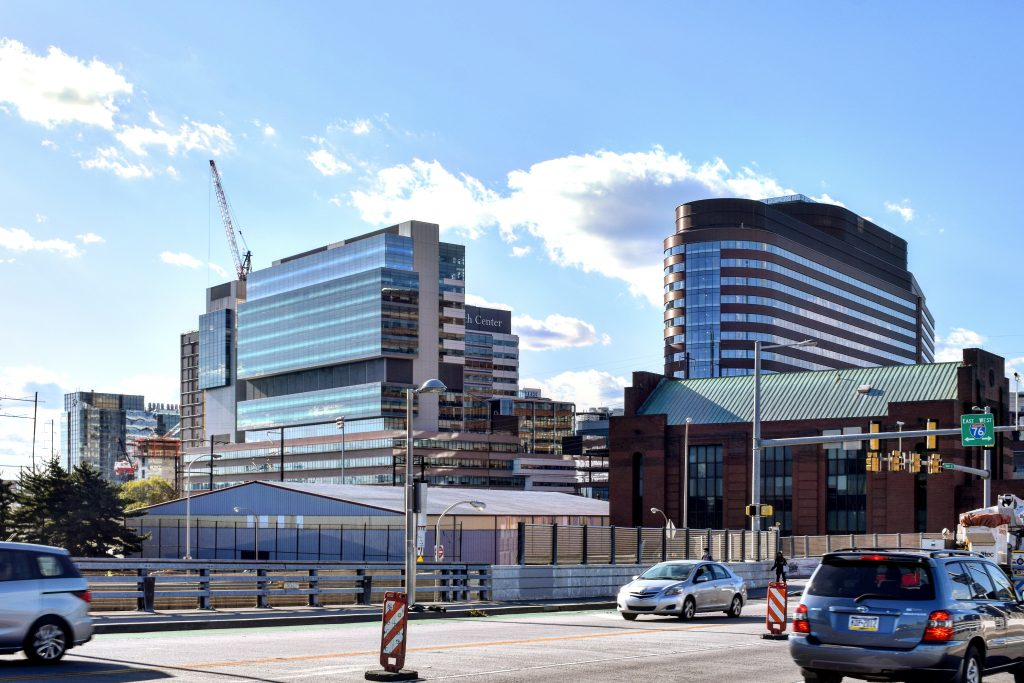 CHOP Hub for Clinical Collaboration and Pavilion from South Street Bridge. Photo by Thomas Koloski
