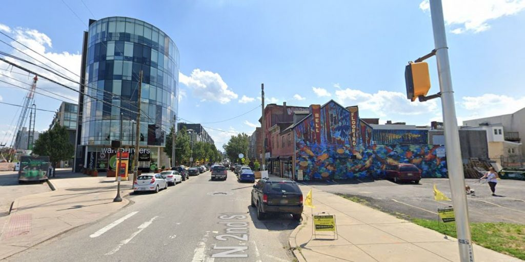 The Piazza is on the left and the future site of 1102 Germantown Avenue is on the right. Looking south down North 2nd Street. Credit: Google