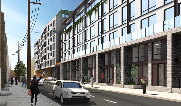 Piazza Terminal at 1075 Germantown Avenue. Looking southwest from North Hancock Street. Credit: BKV Group