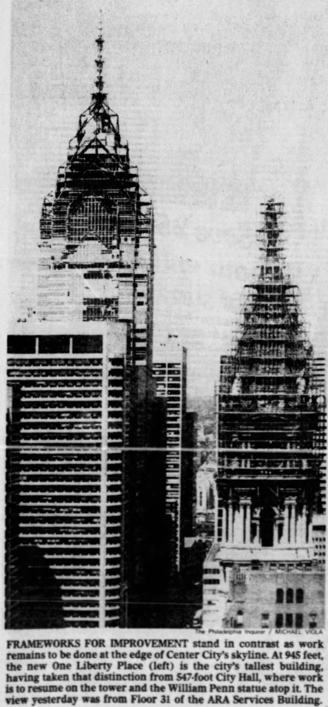 One Liberty Place shortly after the crane take down from Loews Hotel. Photo from the Philadelphia Inquirer