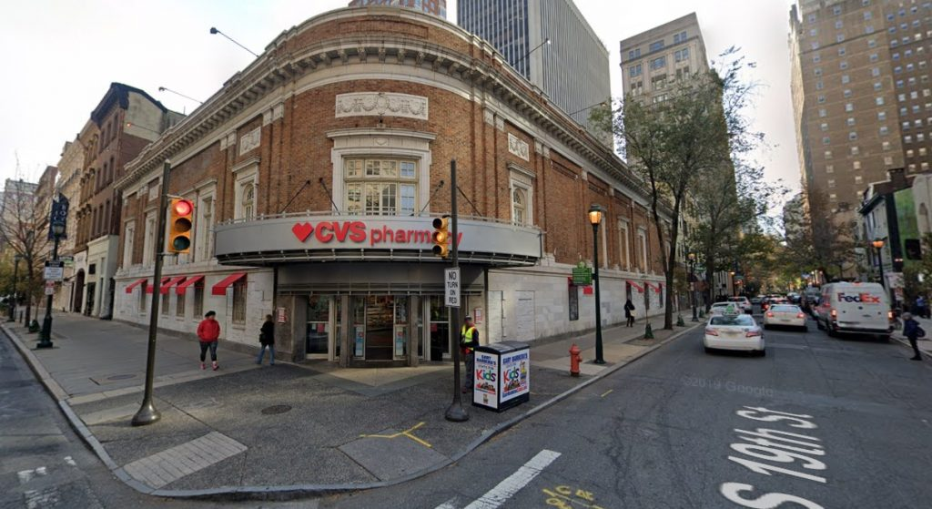 The CVS Pharmacy at 1826 Chestnut Street. October 2019. Looking southeast. Credit: Google