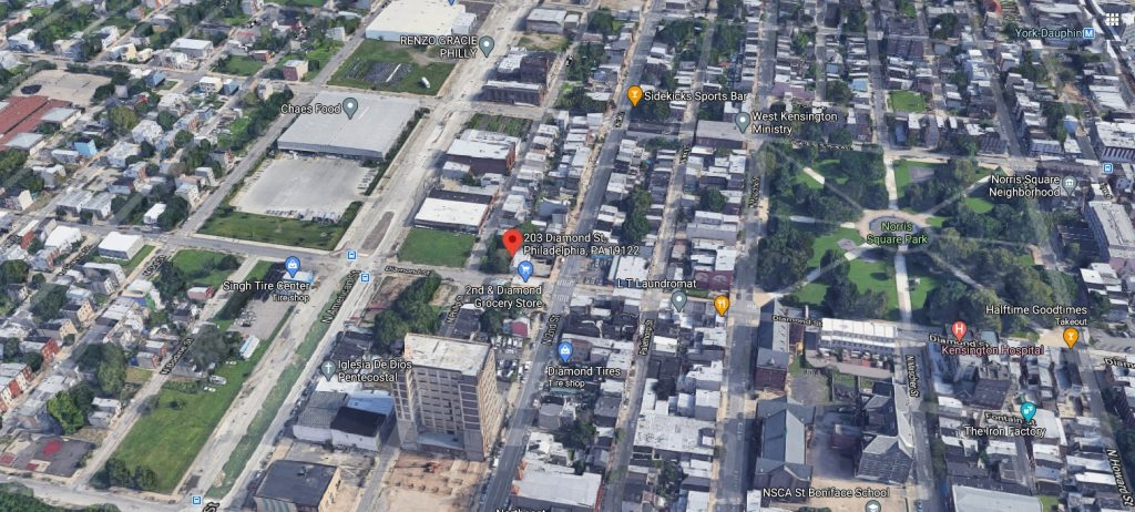 203 Diamond Street and Norris Square. Looking north. Credit: Google