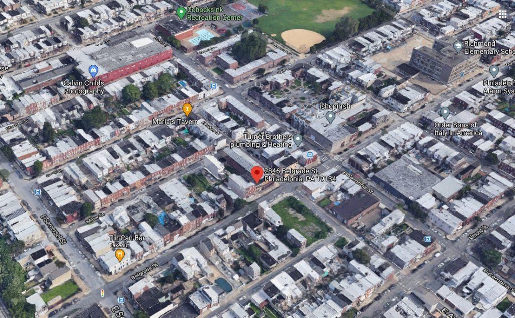 2846 Belgrade Street and Port Richmond. Looking north. Credit: Google