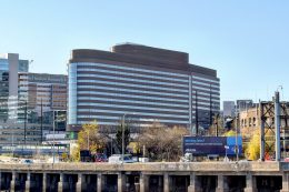 Pavilion and surrounding hospital buildings. Photo by Thomas Koloski