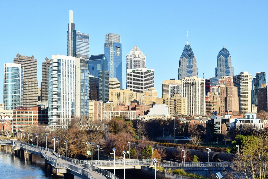 Philadelphia skyline and W/Element Hotel (right) from South Street Bridge. Photo by Thomas Koloski