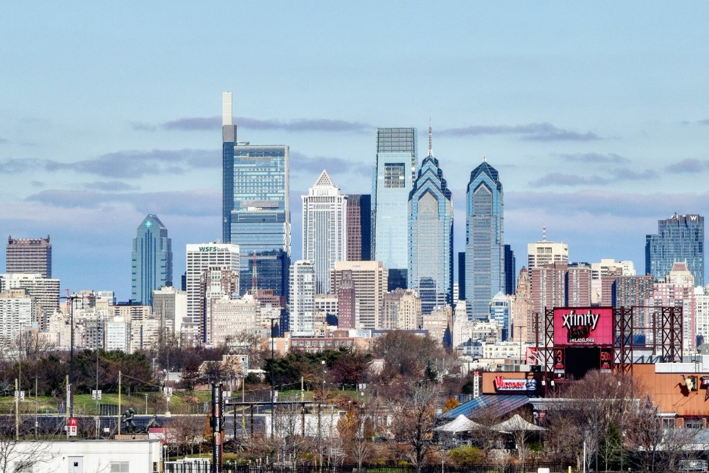 W/Element Hotel (right) and the Philadelphia skyline. Photo by Thomas Koloski
