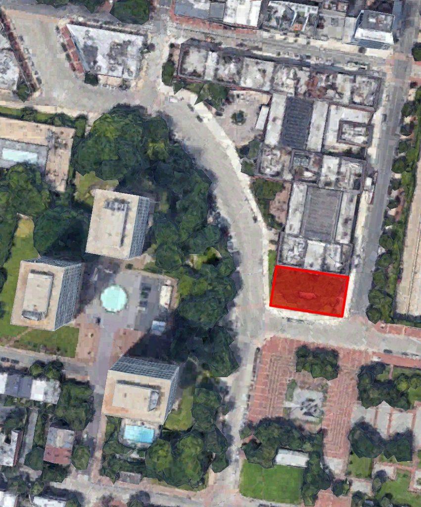 One Dock Street site. Original image from Google Earth, edit by Thomas Koloski