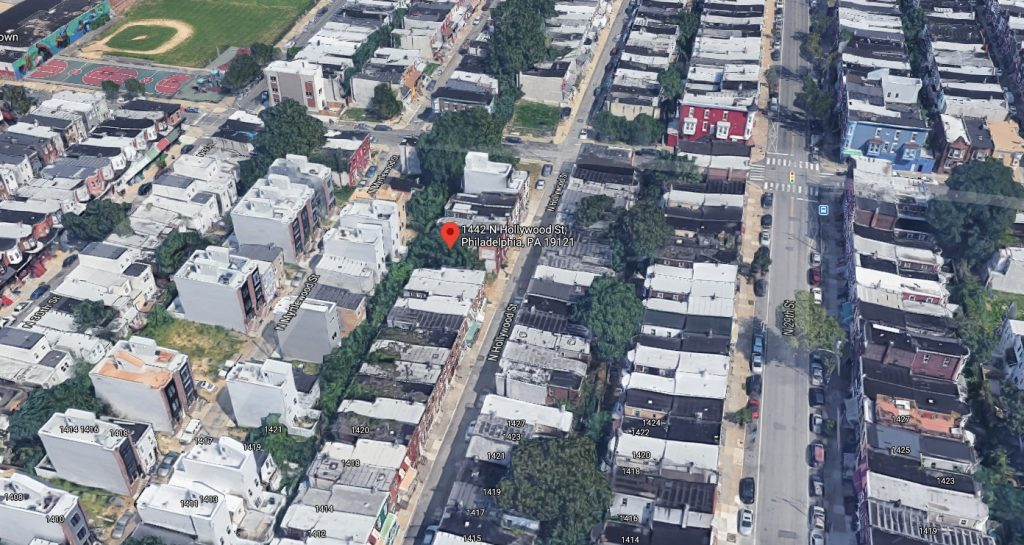 1442 North Hollywood Street within Brewerytown. Looking north. Credit: Google