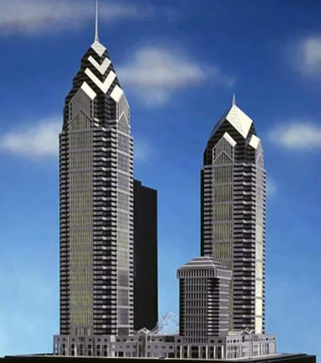 Architectural model of finalized One Liberty Place and unfinished Two Liberty Place. Photo by Helmut Jahn