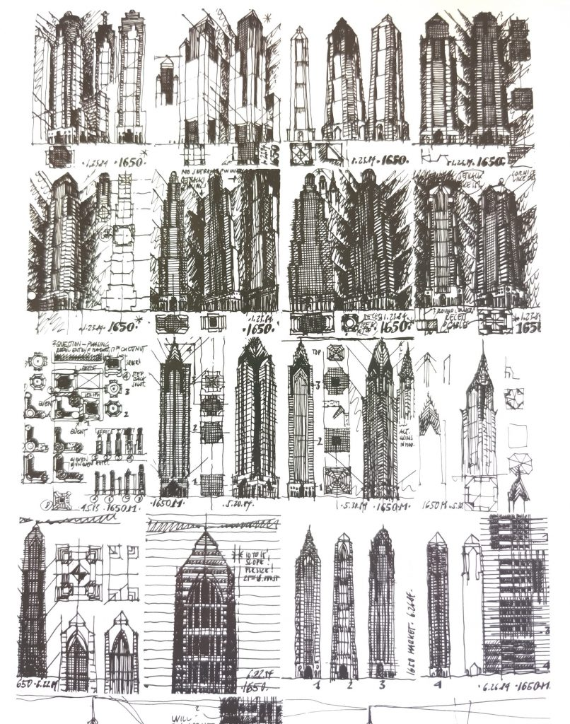 Many conceptual drawings of One Liberty Place. Drawings by Helmut Jahn