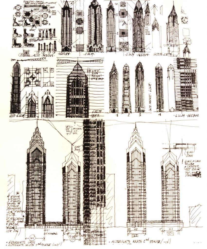 Many more conceptual drawings of One Liberty Place. Drawings by Helmut Jahn