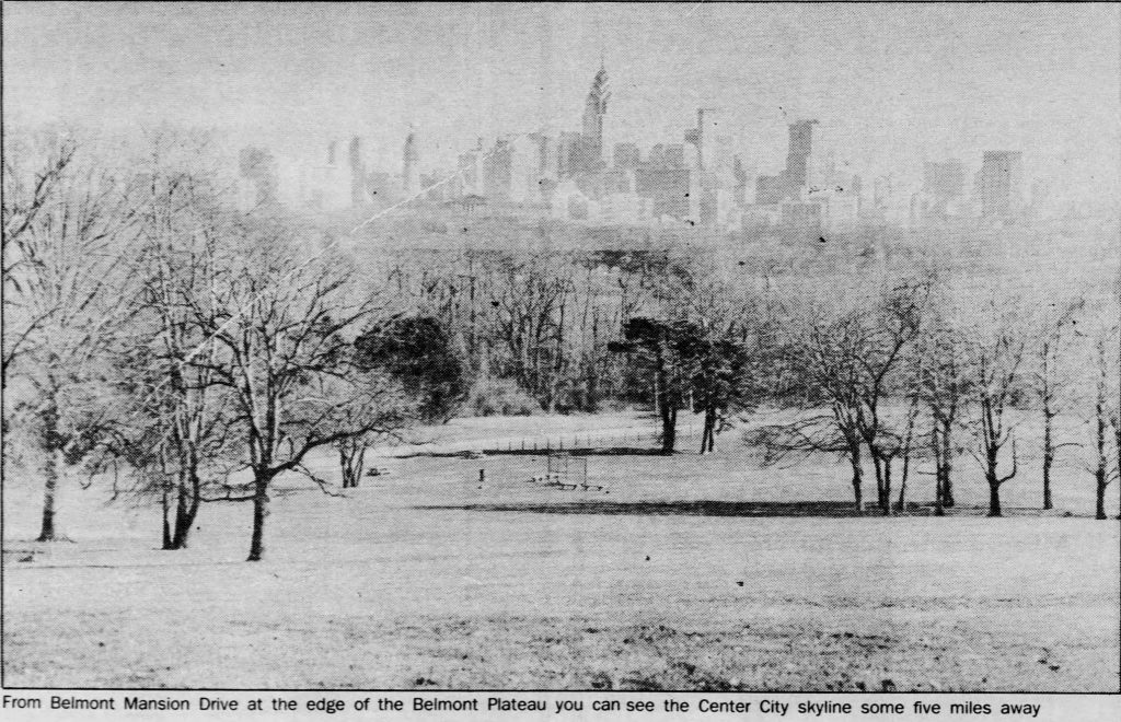 Independence Blue Cross Tower core topped out in the skyline from Belmont Plateau. Photo by Philadelphia Daily News