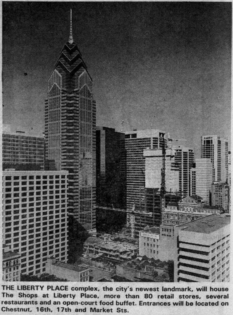 The Westin, Shops at Liberty Place and Two Liberty Place under construction. Photo by Philadelphia Daily News