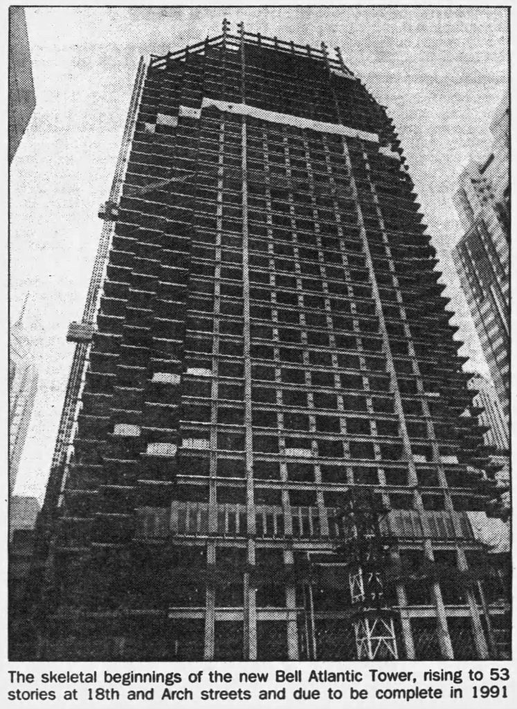 Bell Atlantic Tower under construction. Photo by Philadelphia Daily News