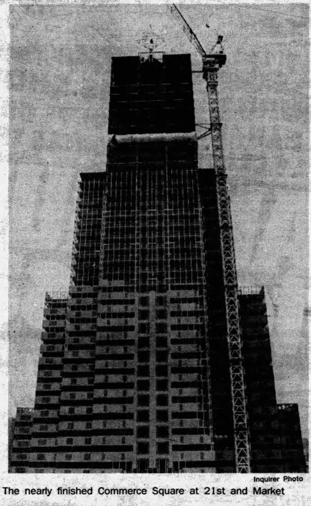 One Commerce Square topping out. Photo by Philadelphia Daily News