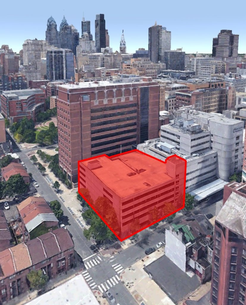 Site for the Caroline Kimmel Biomedical Research Center. Original image by Google Earth, edit by Thomas Koloski