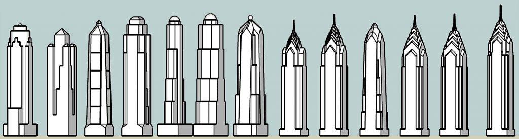 One Liberty Place design evolution. Models by Thomas Koloski
