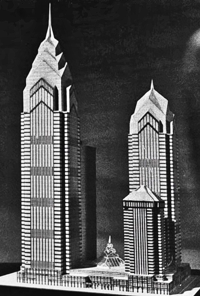 Unfinished Liberty Place design model. Photo from Helmut Jahn