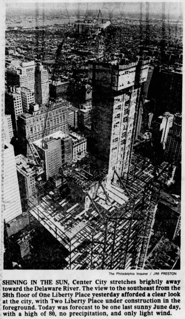 Two Liberty Place under construction from One Liberty Place. Photo by The Philadelphia Inquirer