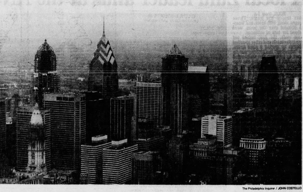 Philadelphia skyline aerial December 1989. Photo by The Philadelphia Inquirer