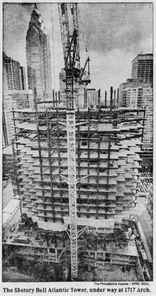 Bell Atlantic Tower rising. Photo by The Philadelphia Inquirer