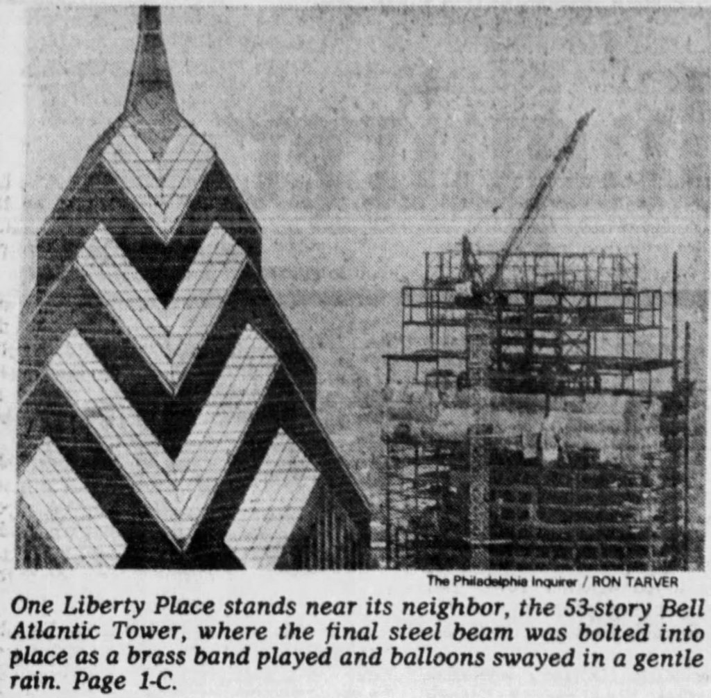 Bell Atlantic Tower topped out. Photo by The Philadelphia Inquirer