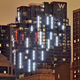 W/Element Hotel with decorative lighting. Photo by Thomas Koloski