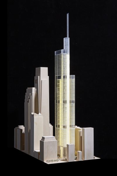 Early concept model of the Comcast Technology Center. Image from Foster and Partners