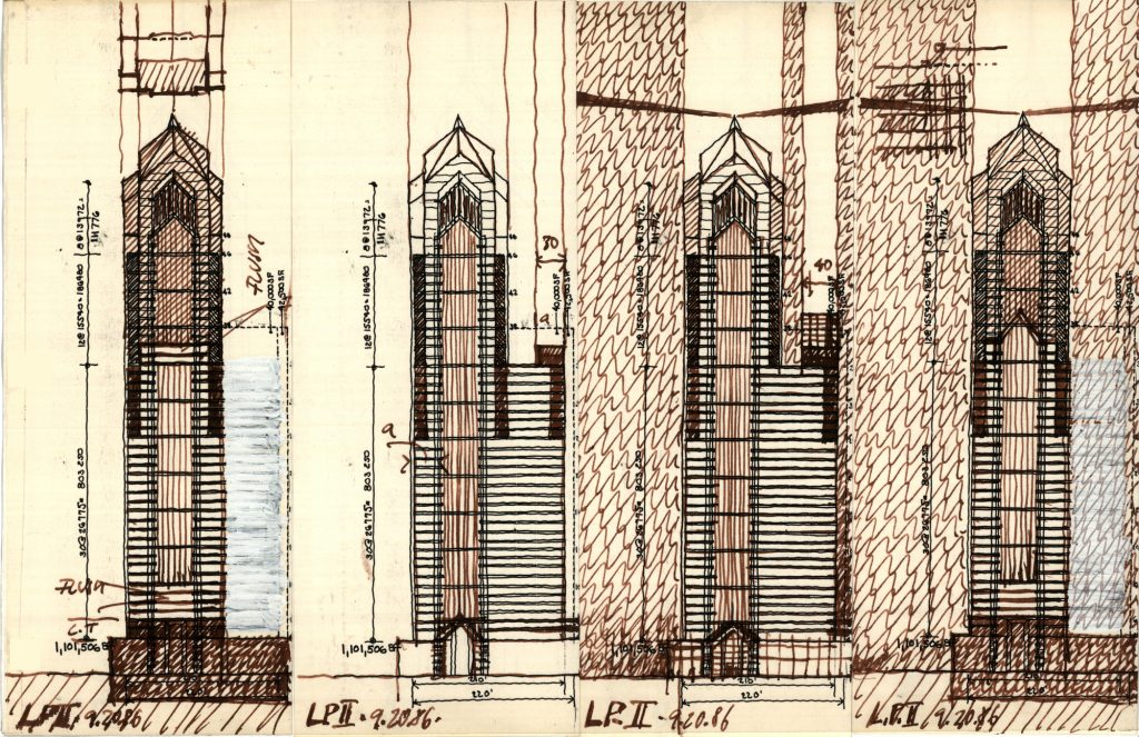 Two Liberty Place sketches 9/20 via Helmut Jahn