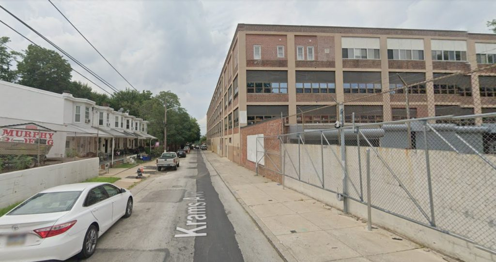Krams Avenue, with 437 Krams Avenue on the left. Looking southwest. Credit: Google