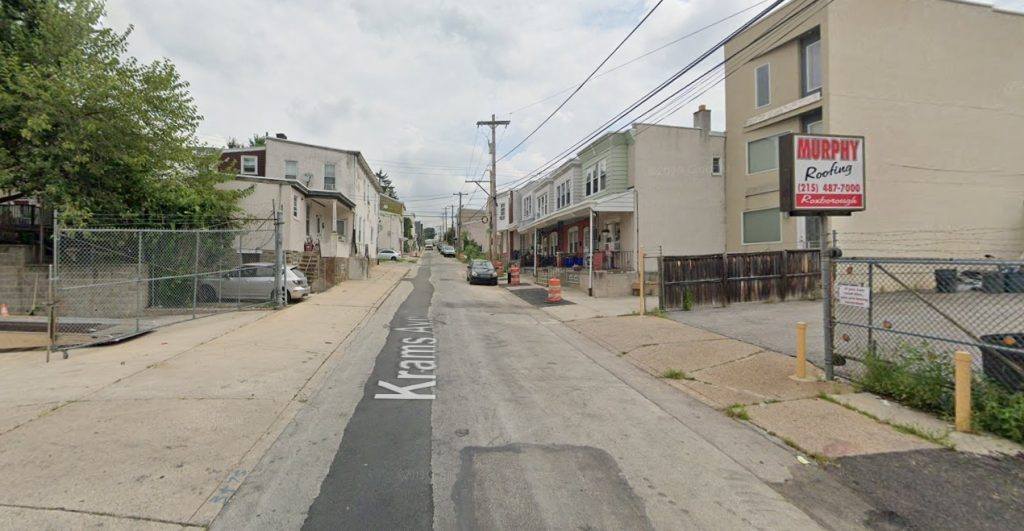 Krams Avenue, with 437 Krams Avenue on the right. Looking northeast. Credit: Google