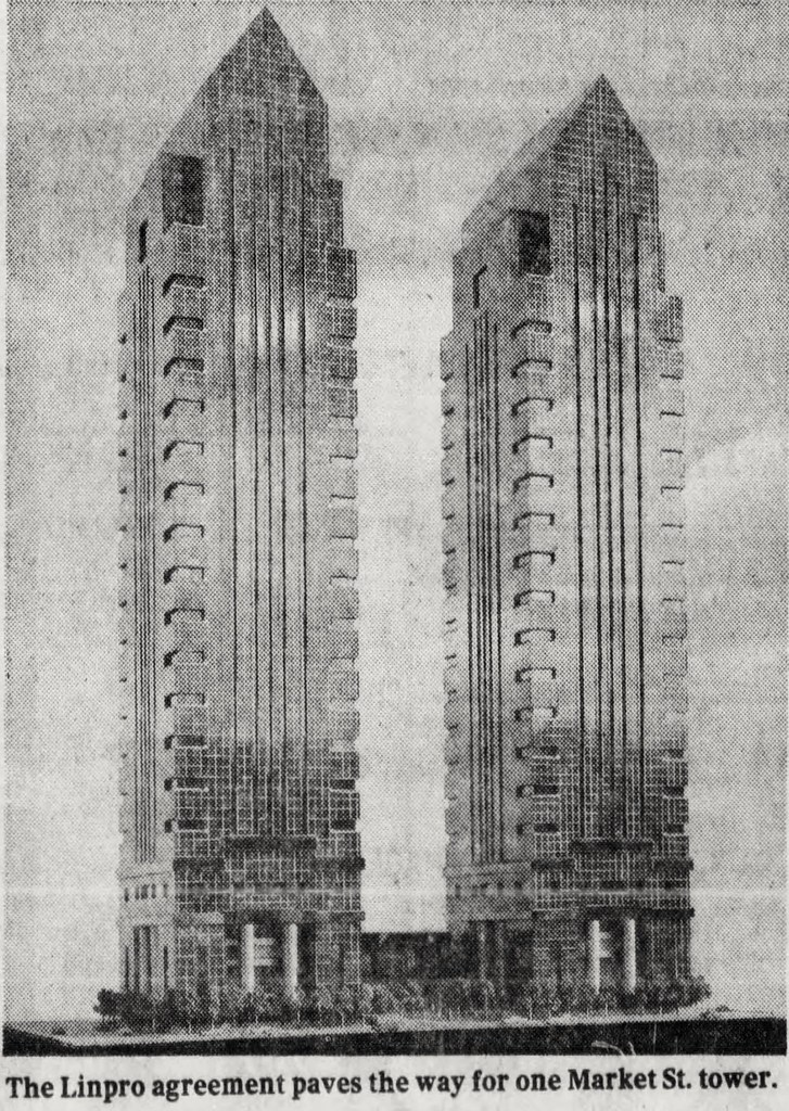 Twin Independence Blue Cross Towers. Image from WZMH Architects