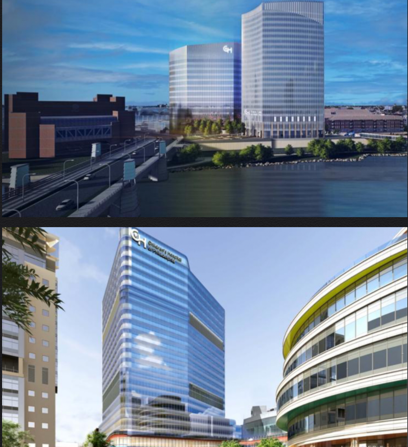 Renderings 690 Schuylkill Avenue (top) and 3401 Civic Center Boulevard (bottom). Credit - top: CANNOdesign. Bottom: ZGF/Ballinger.