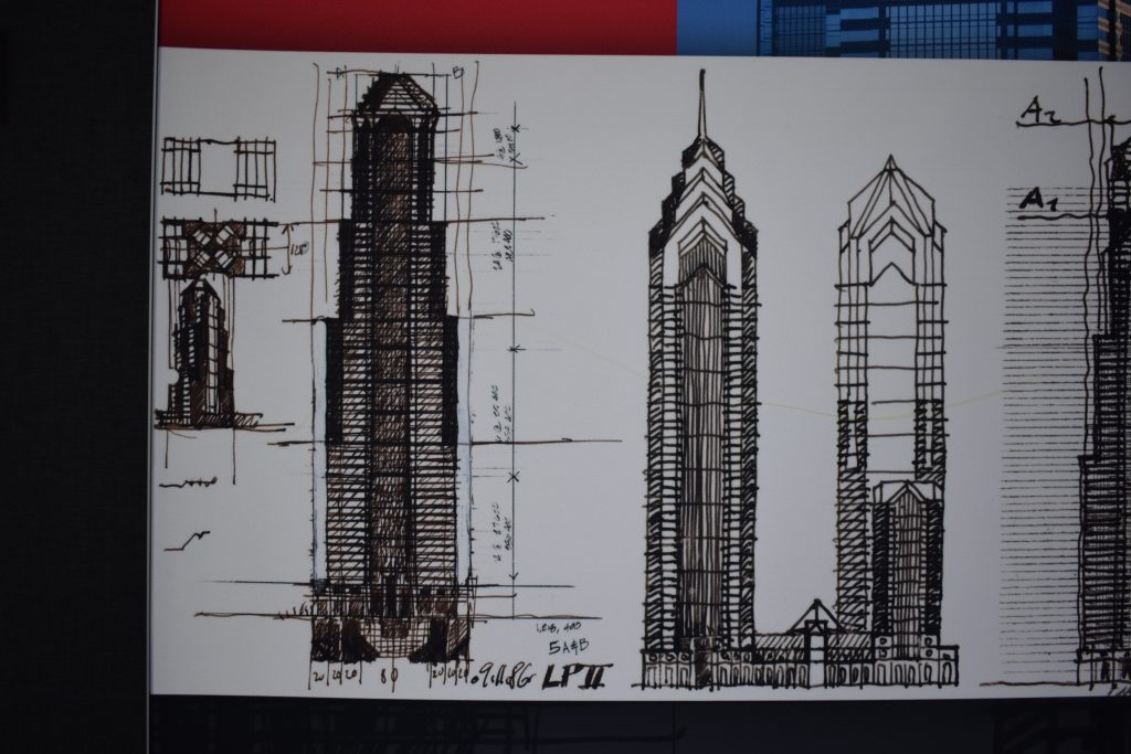 Two Liberty Place sketches 09/11/1986 via Helmut Jahn