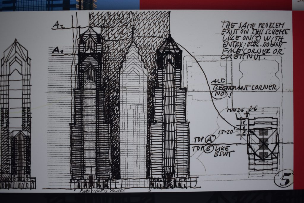 Two Liberty Place sketches via Helmut Jahn