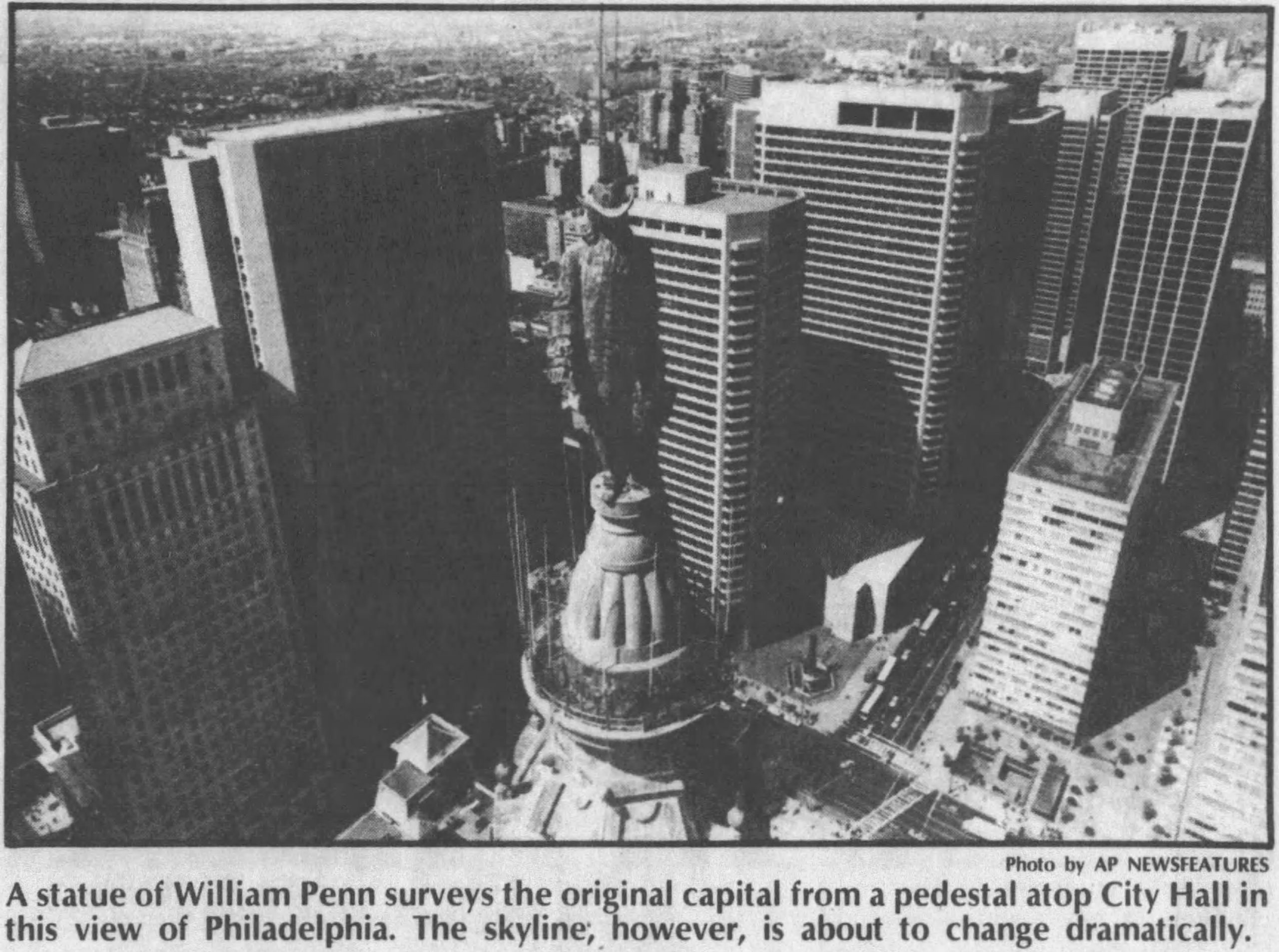 One Meridian Plaza (left) in the Philadelphia skyline. Photo via Daily Press