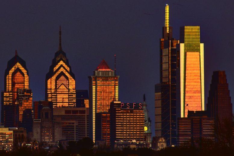 Comcast Center (right) in the Philadelphia skyline. Photo by Thomas Koloski