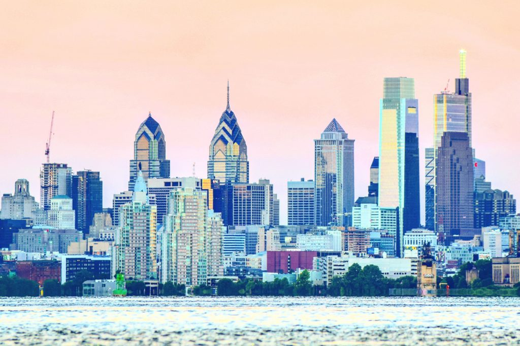 Comcast Center in the Philadelphia skyline from New Jersey. Photo by Thomas Koloski