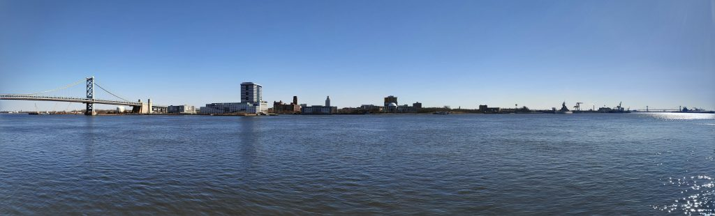 Panoramic view from Penn's Landing, looking at the Camden Waterfront. Photo by Thomas Koloski