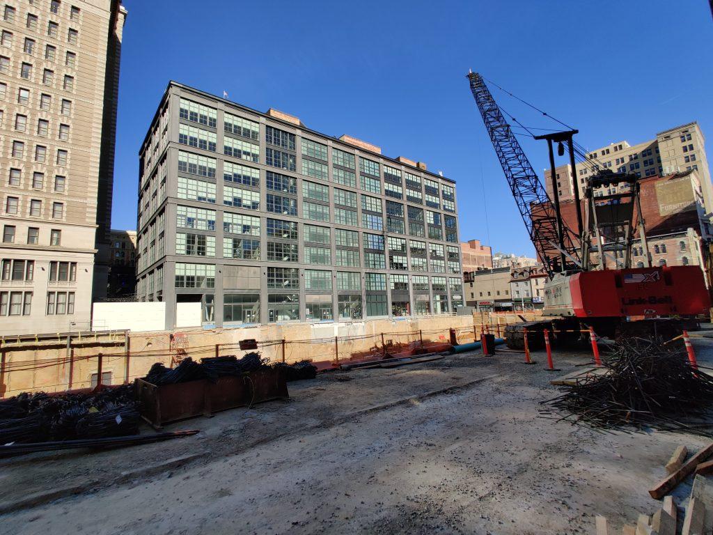 East Market Phase 3 and crane looking north. Photo by Thomas Koloski