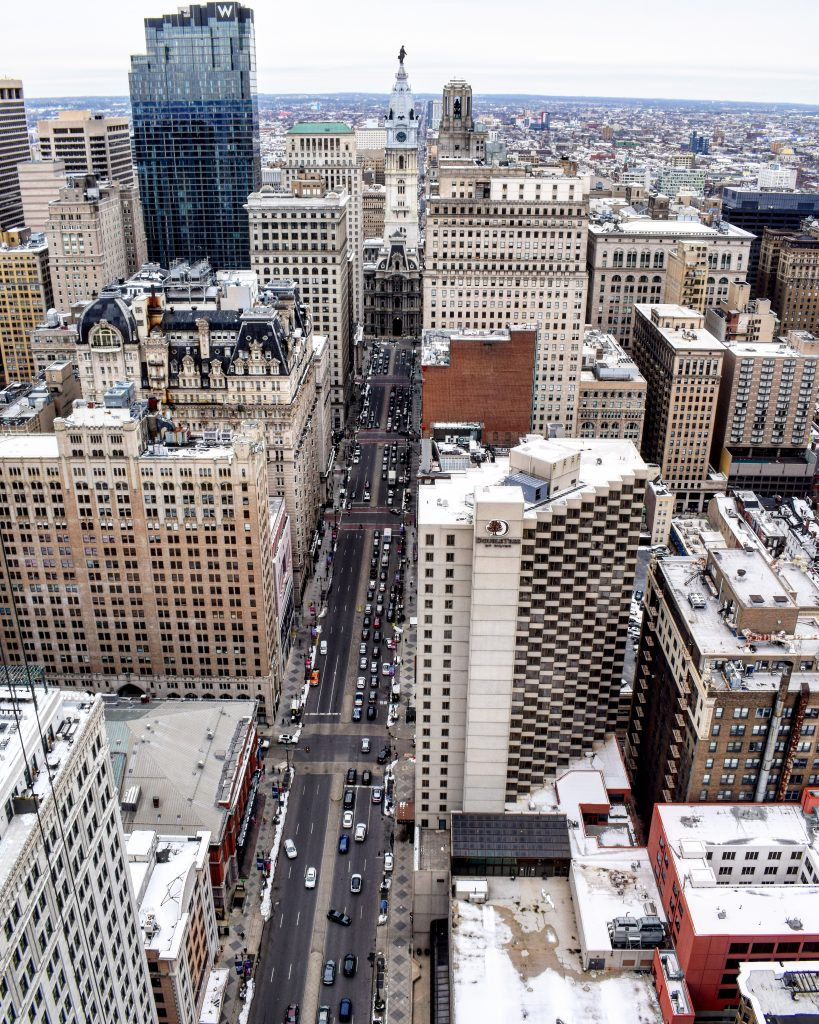 Broad Street and City Hall from the 41st floor of Arthaus. Photo by Thomas Koloski