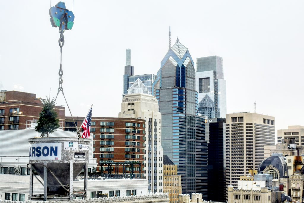 Final concrete bucket with the Philadelphia skyline. Photo by Thomas Koloski