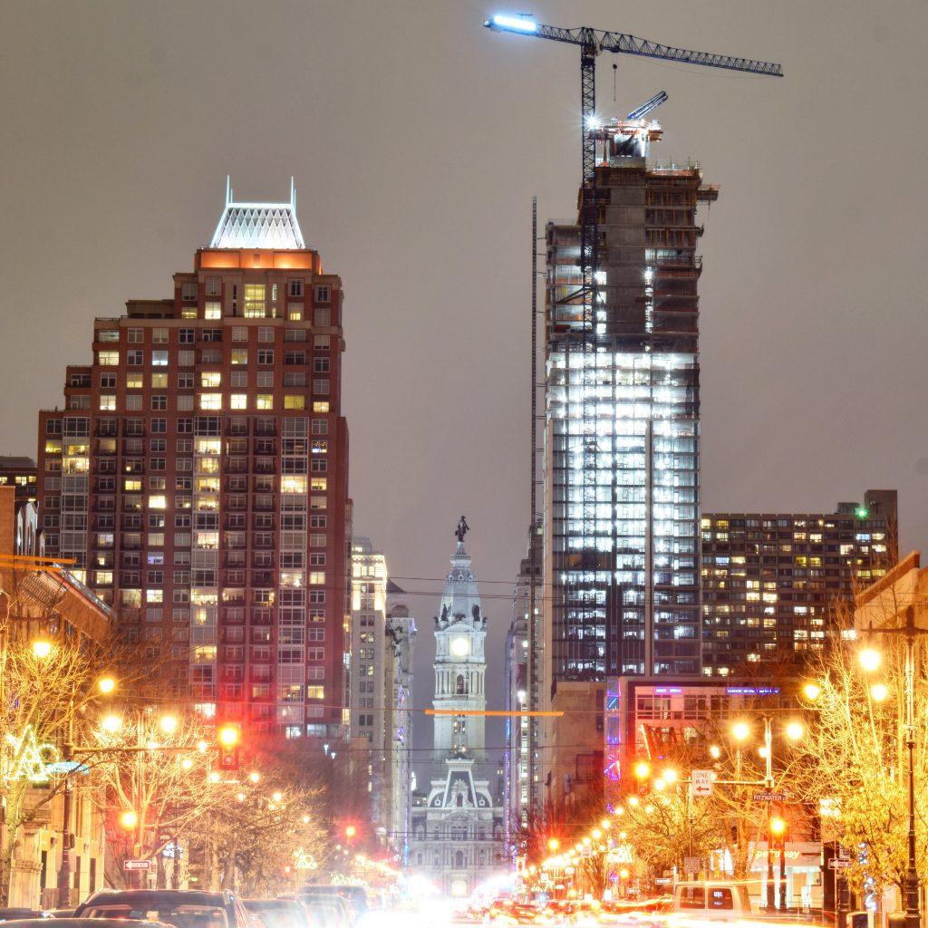 Symphony House, City Hall, and Arthaus from South Broad Street. Photo by Thomas Koloski