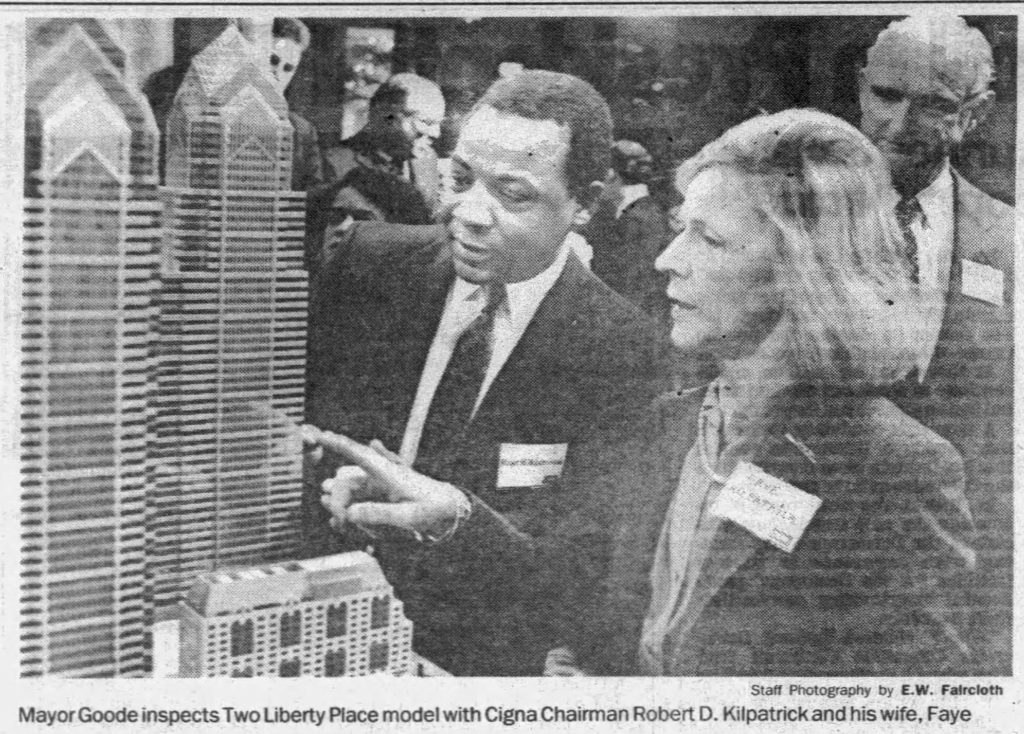 Mayor Wilson Goode with a model of Two Liberty Place in its final shape. Photo via Philadelphia Daily News