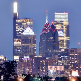 Philadelphia nighttime skyline from New Jersey. Photo by Thomas Koloski